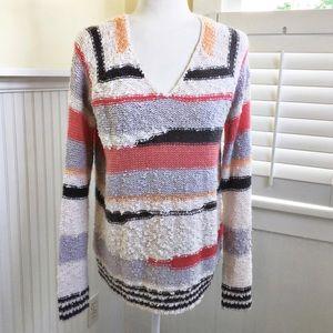 Sonoma Cozy Textured Striped V-Neck Sweater- L